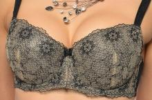 Podprsenka vyztužená Kristýna černá s béžovým vyšívaným tylem